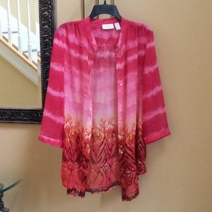 Chico's 2 (fits 12/Large) Semi sheer tunic blouse